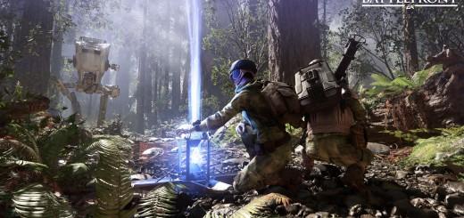 Star Wars Battlefront. Rebel troops on Endor fighting.