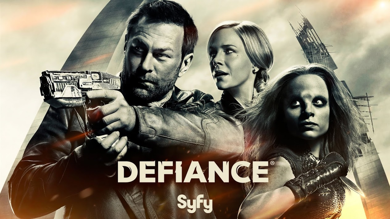 Defiance season 3 poster. Grant Bowler, Julie Benz and Stephanie Leonidas