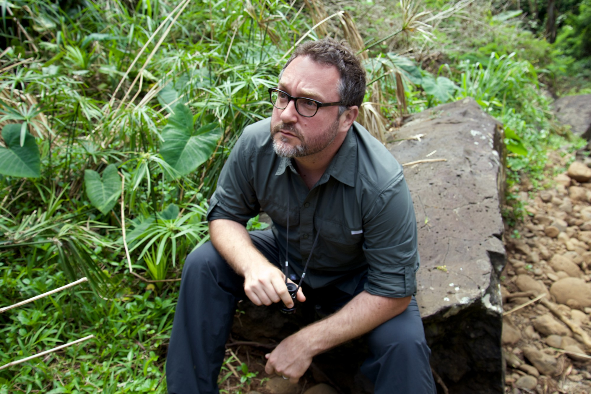 Director Colin Treverrow on the set of Jurassic World