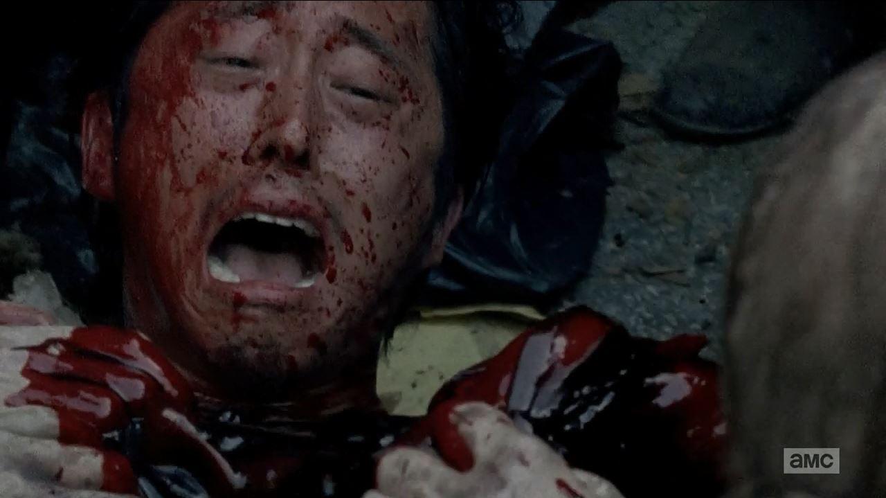 Glenn being devoured. Steven Yeun in The Walking Dead.