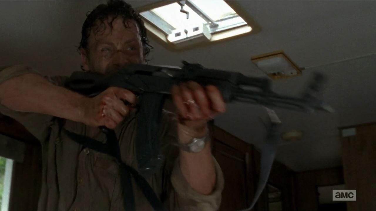 Rick uses Kalashnikov on Wolves. The Walking Dead