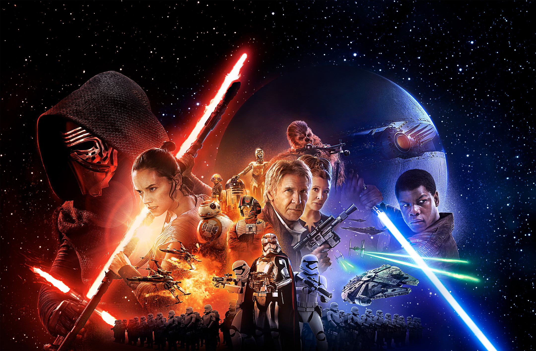 The Force Awakens banner high-resolution. John Boyega, Carrie Fisher, Harrison Ford and Daisy Ridley