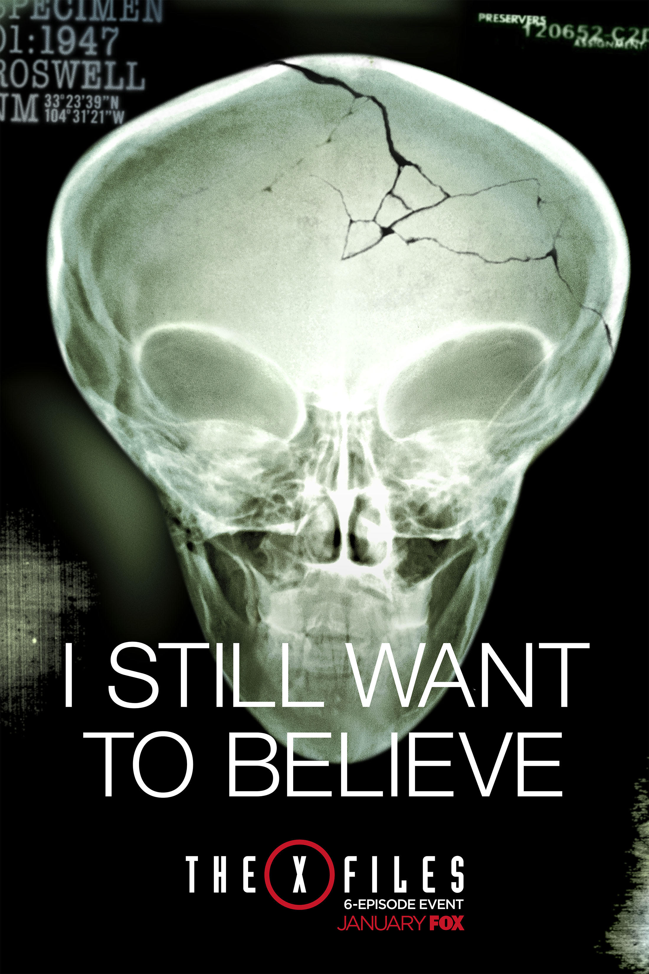 The X-Files (miniseries) official poster - alien skull