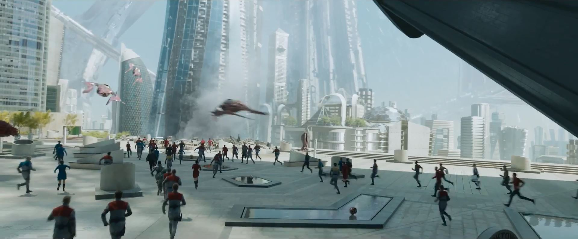 First trailer for Star Trek Beyond. Starfleet headquarters under attack