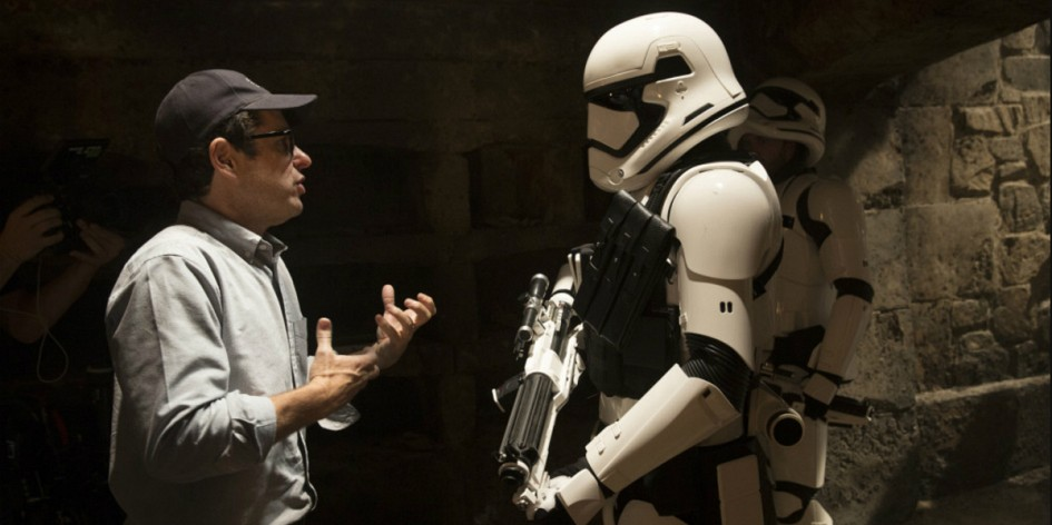 J.J. Abrams with Stormtrooper The Force Awakens Review