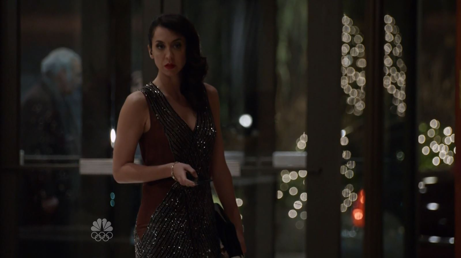 Mozhan Marnò in cocktail dress. The Blacklist S3Ep13 Alistair Pitt Review