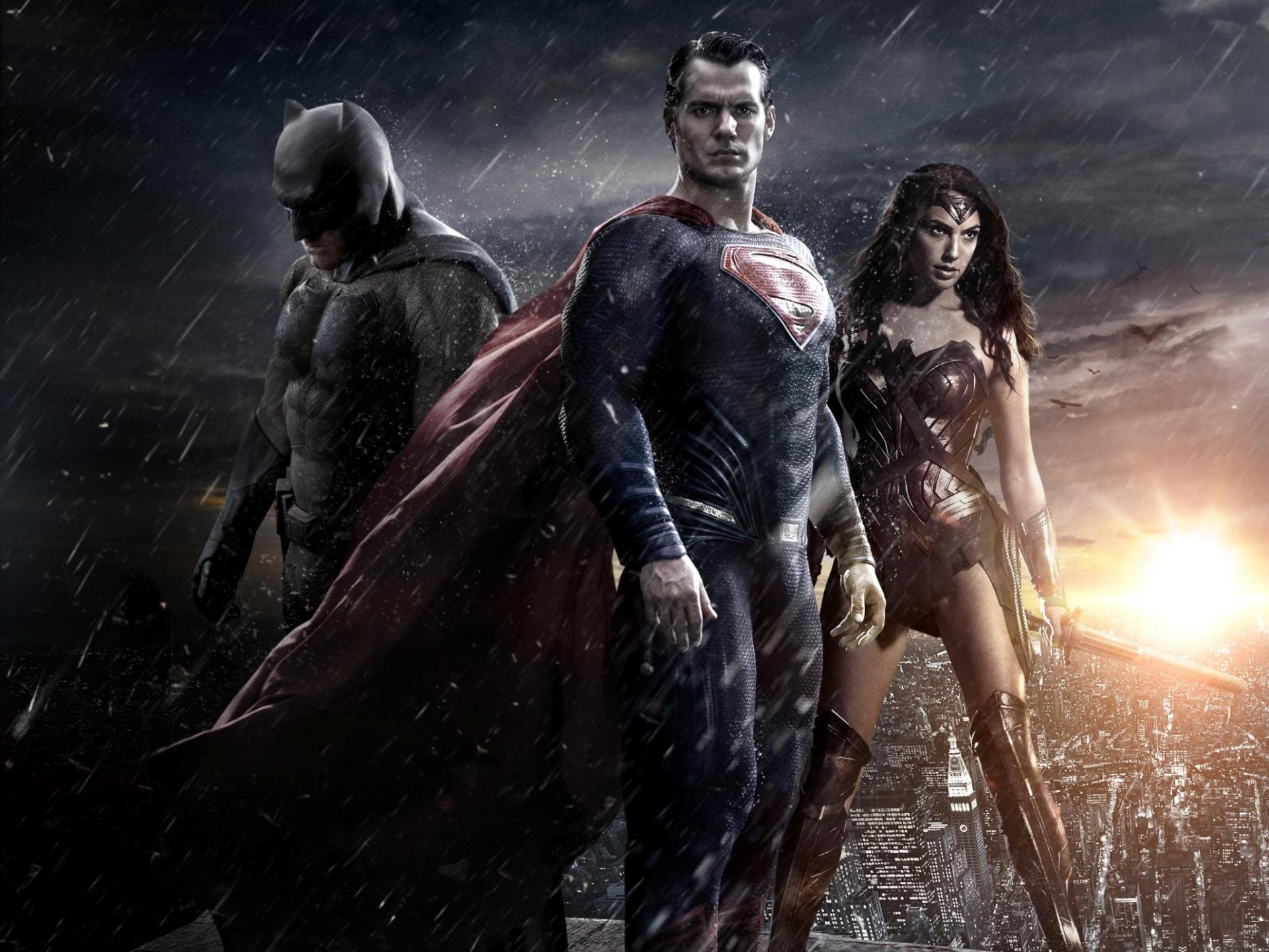 Batman v Superman Dawn of Justice. Gal Gadot, Ben Affleck and Henry Cavill
