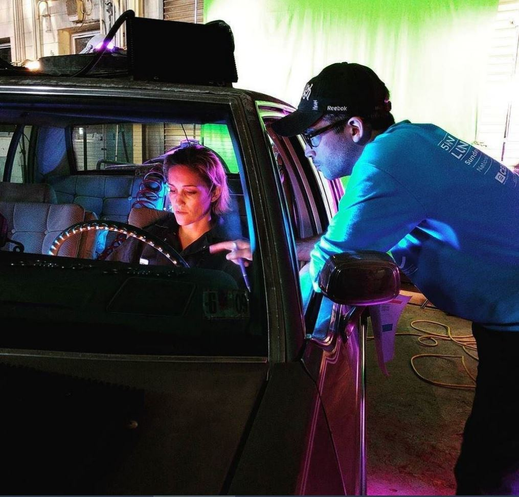 Luvia Petersen on the set of Moonshot