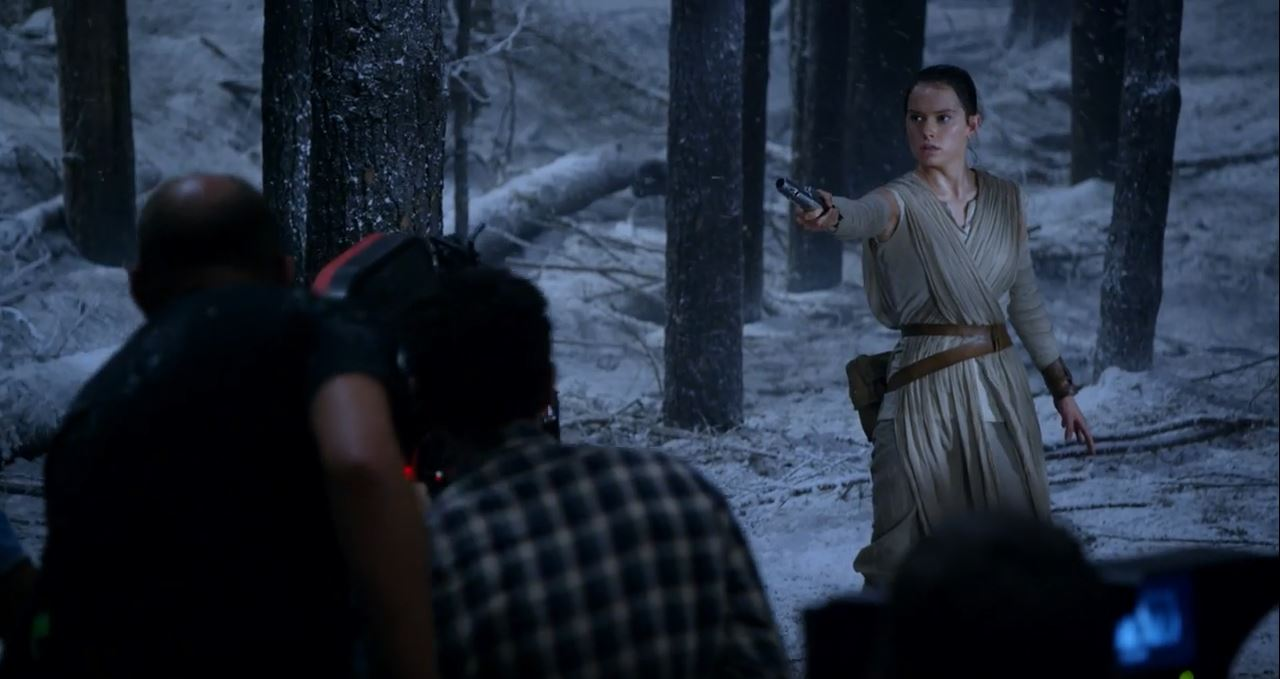 Rey catching the lightsaber. Force Awakens Blu-Ray release set for early April