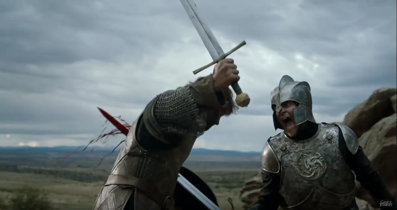 Game Of Thrones Season 6 Preview. Arthur Dayne runs through a knight.