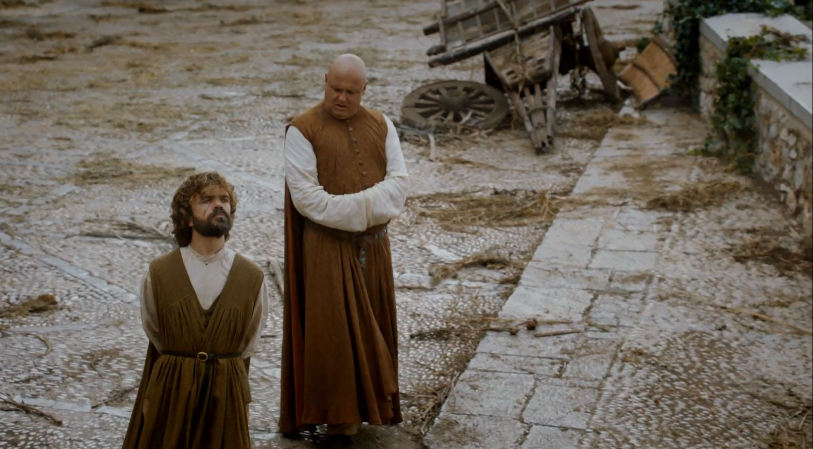 Varys and Tyrion walking through Meereen. Game Of Thrones S6Ep1 The Red Woman Review