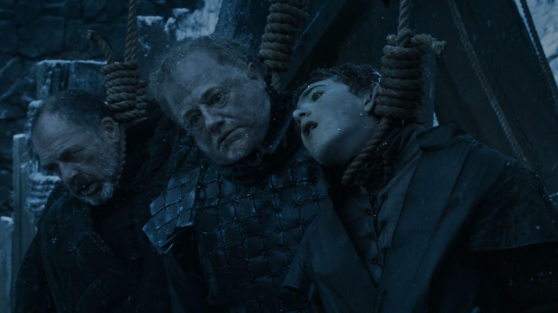 Olly and Alliser Thorne hanged dead. Game Of Thrones S6Ep3 Oathbreaker Review