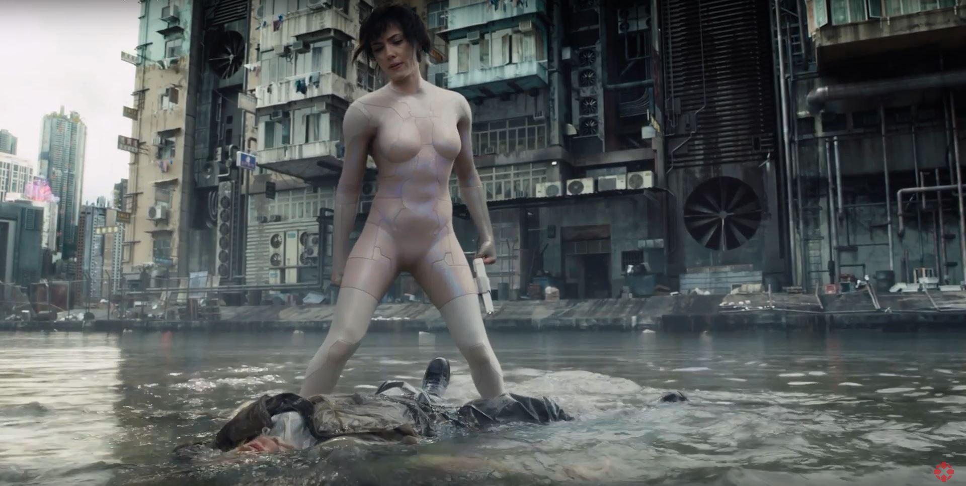Scarlett Johansson sexy leotard Ghost In The Shell
