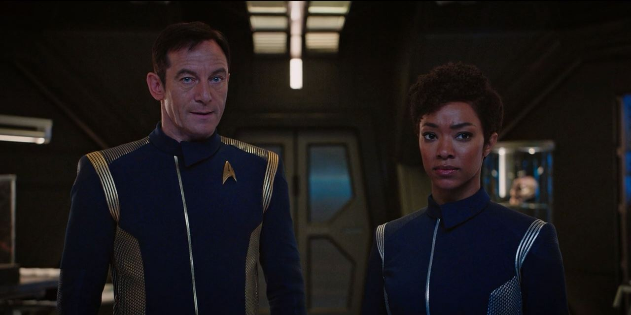 Star Trek Discovery Lorca and Burnham talk weapons