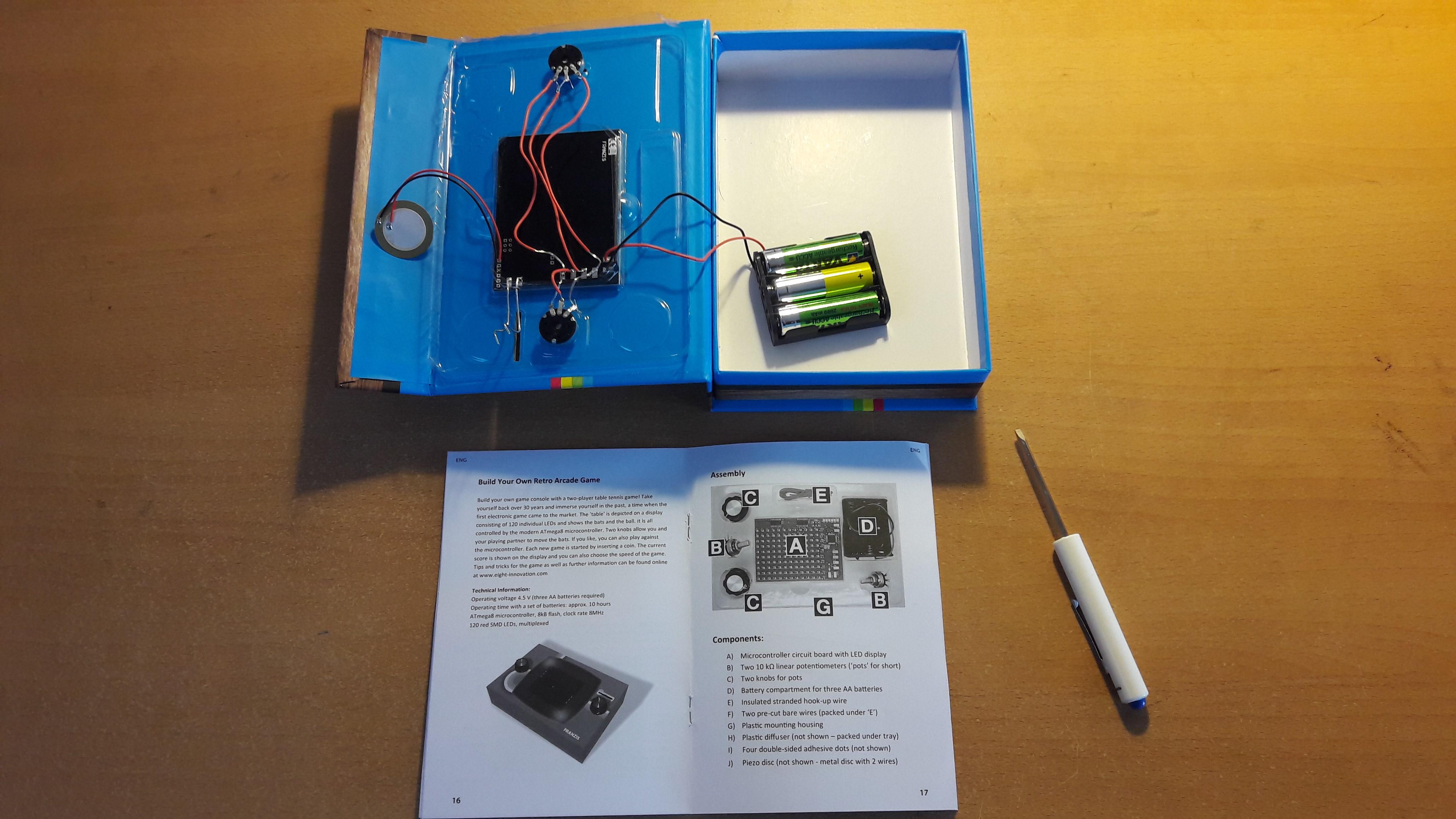 Retro Aracde Kit plastic tray and manual