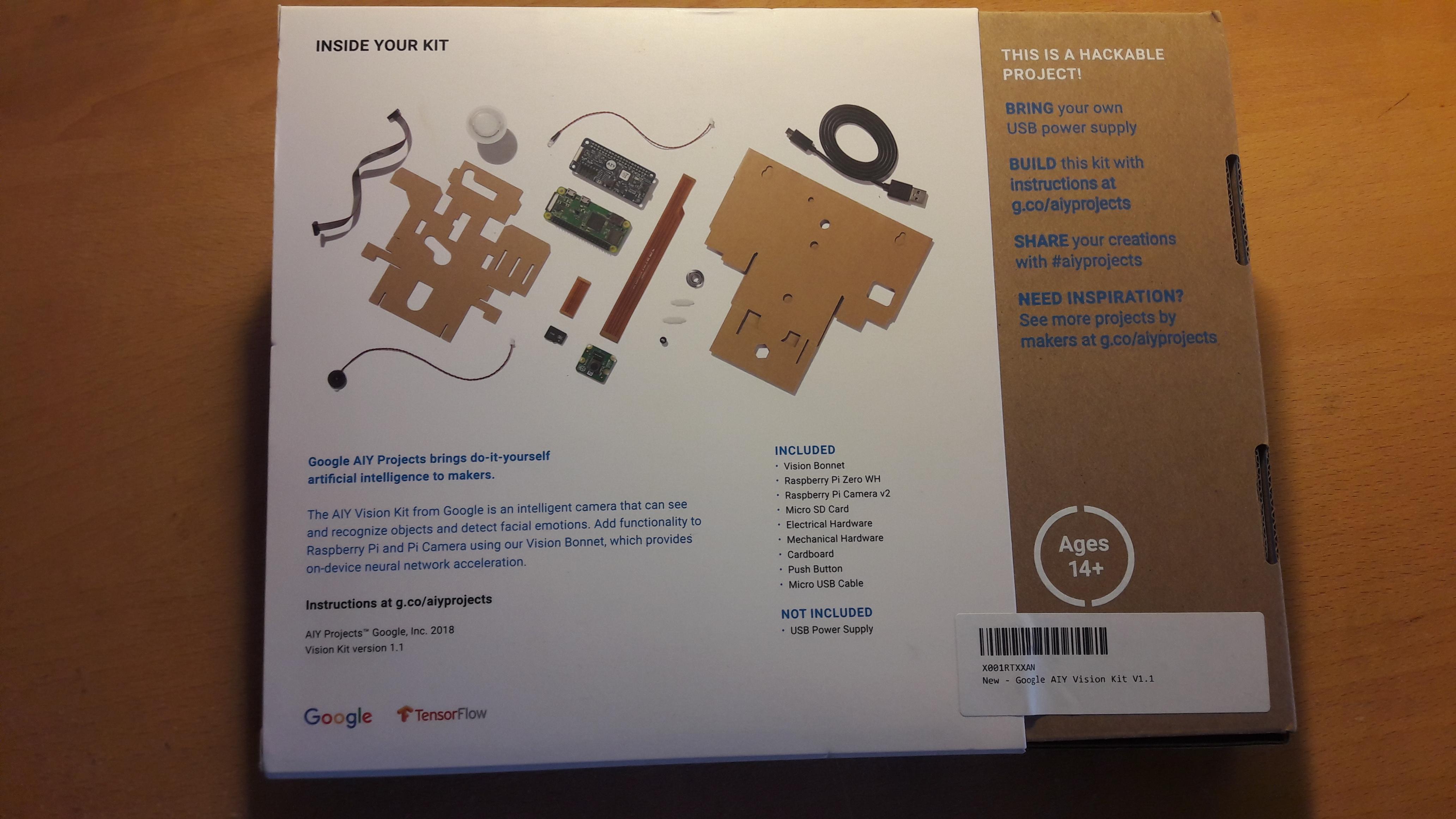 Vision Kit box back