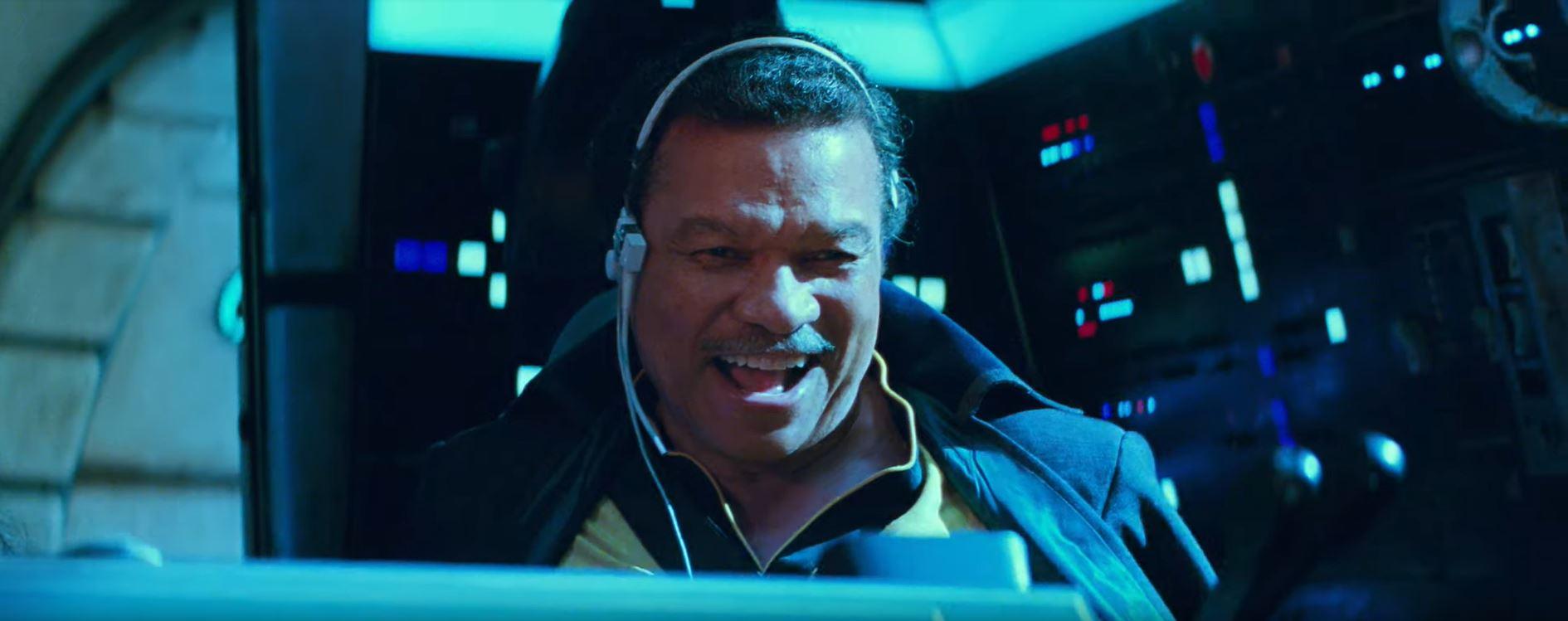 Star Wars The Rise of Skywalker Billy Dee Williams as Lando Calrissian inside the Millennium Falcon