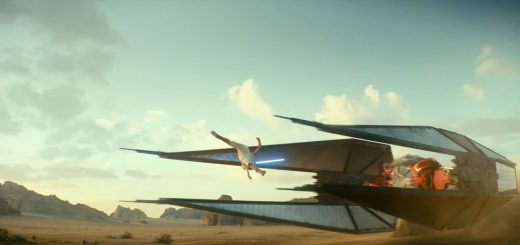 Star Wars The Rise of Skywalker Rey (Daisy Ridley) leaps over Tie-fighter