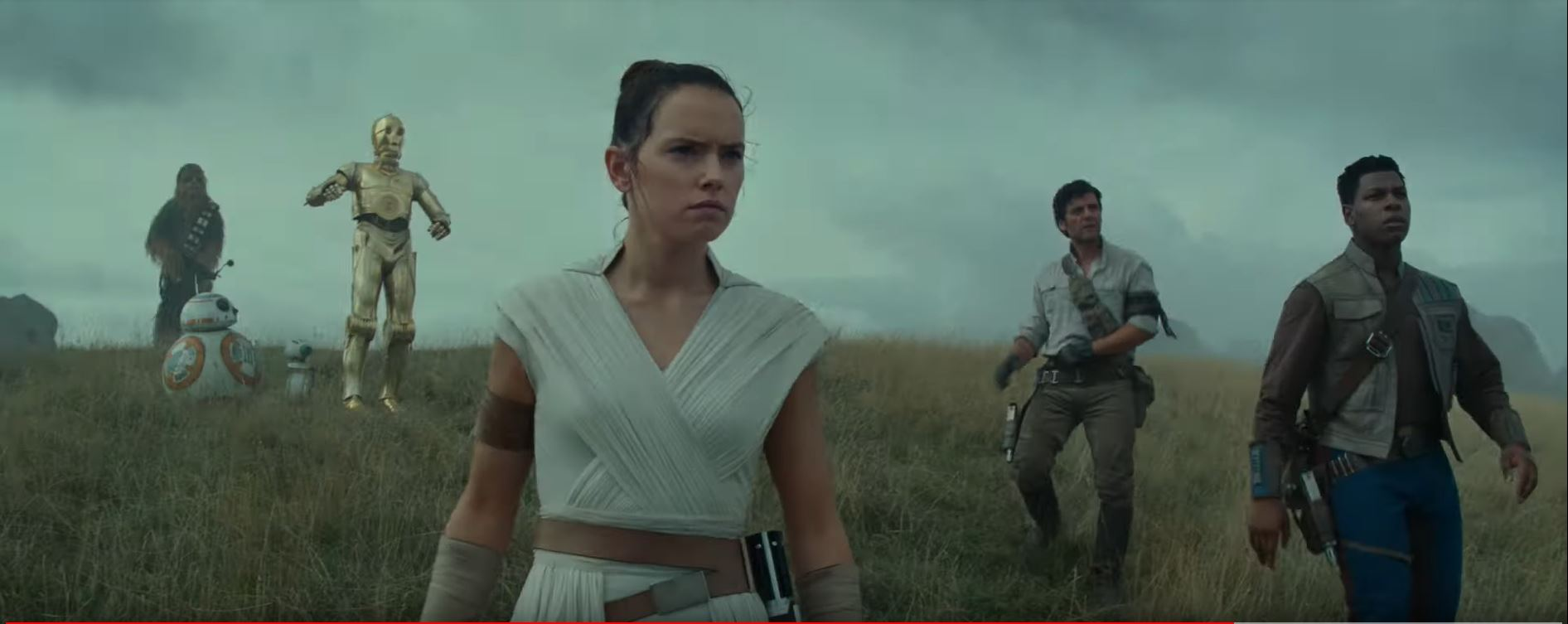 Star Wars The Rise of Skywalker Rey, Finn, Poe, C3-PO, Chewie and BB-8 on ocean planet