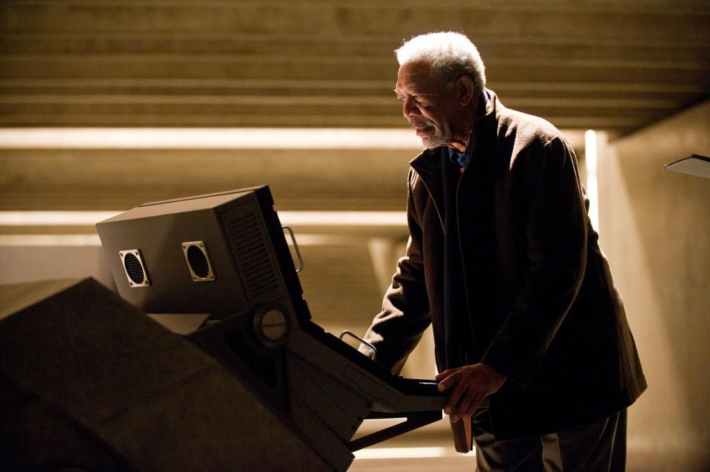 Morgan Freeman as Lucius Fox in The Dark Knight Rises