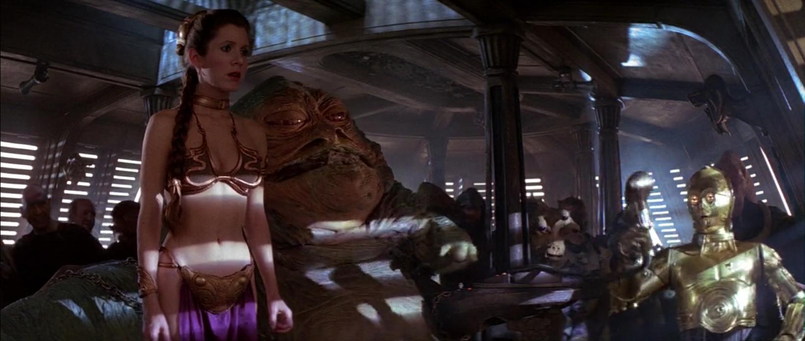 Carrie Fisher as Princess Leia in a metal bikini  - George Lucas sells LucasFilm for 4 Billion!