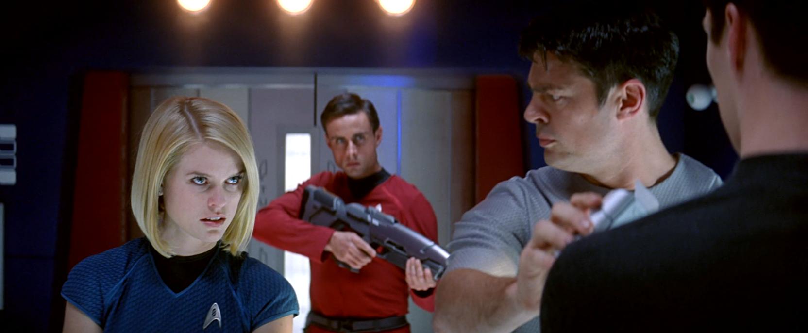Bones (Karl Urban) and Carol Marcus (Alice Eve) in Star Trek Into Darkness