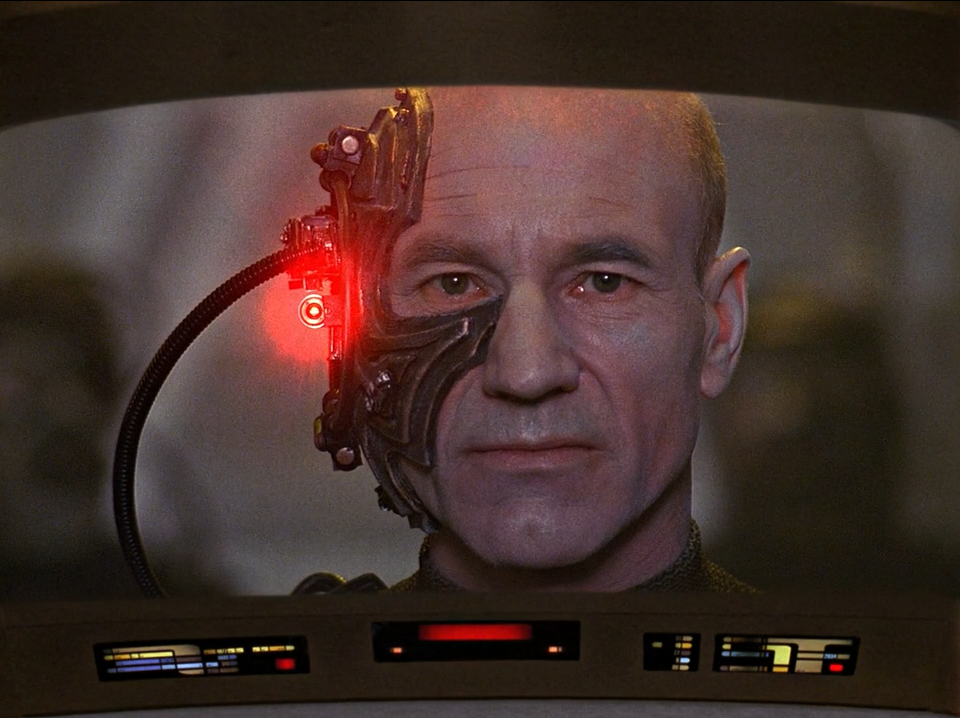 Captain Picard (Patrick Stewart) assimilated as Borg - The Best of Both Worlds - Star Trek The Next Generation