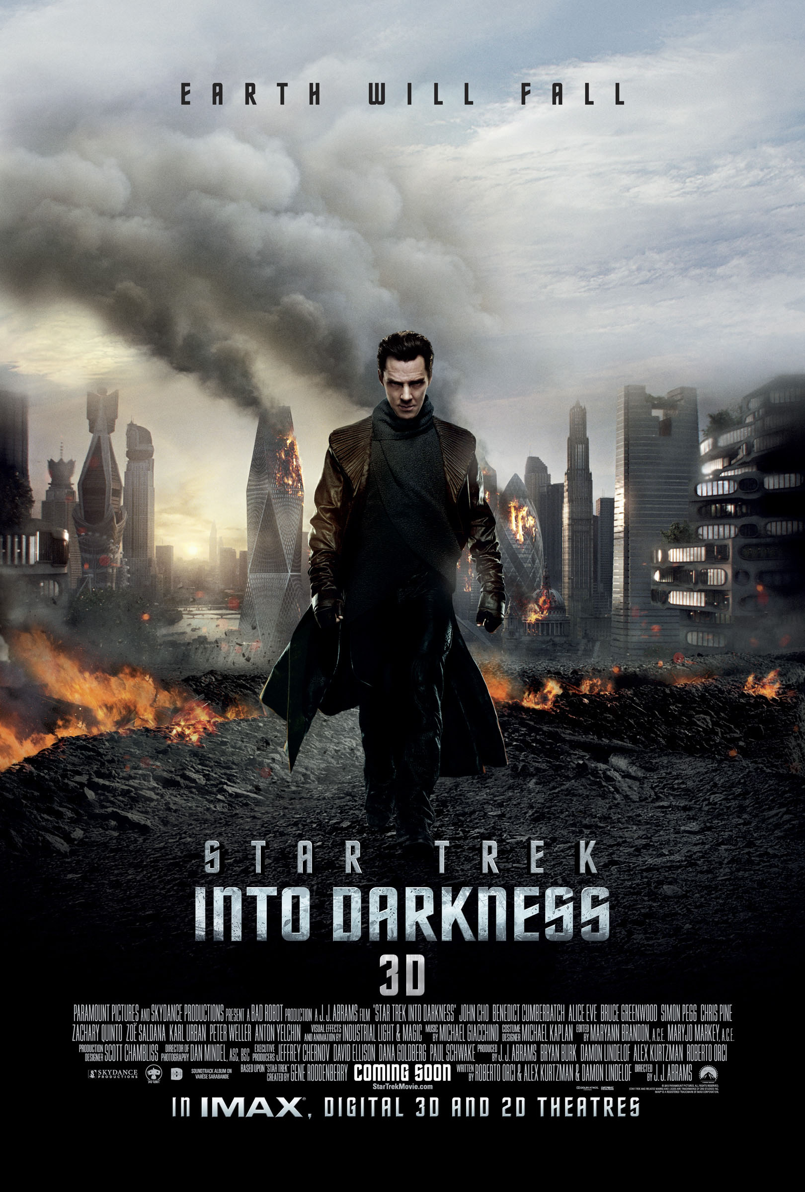 Star Trek Into Darkness 3d poster with Benedict Cumberbatch - Earth Will Fall