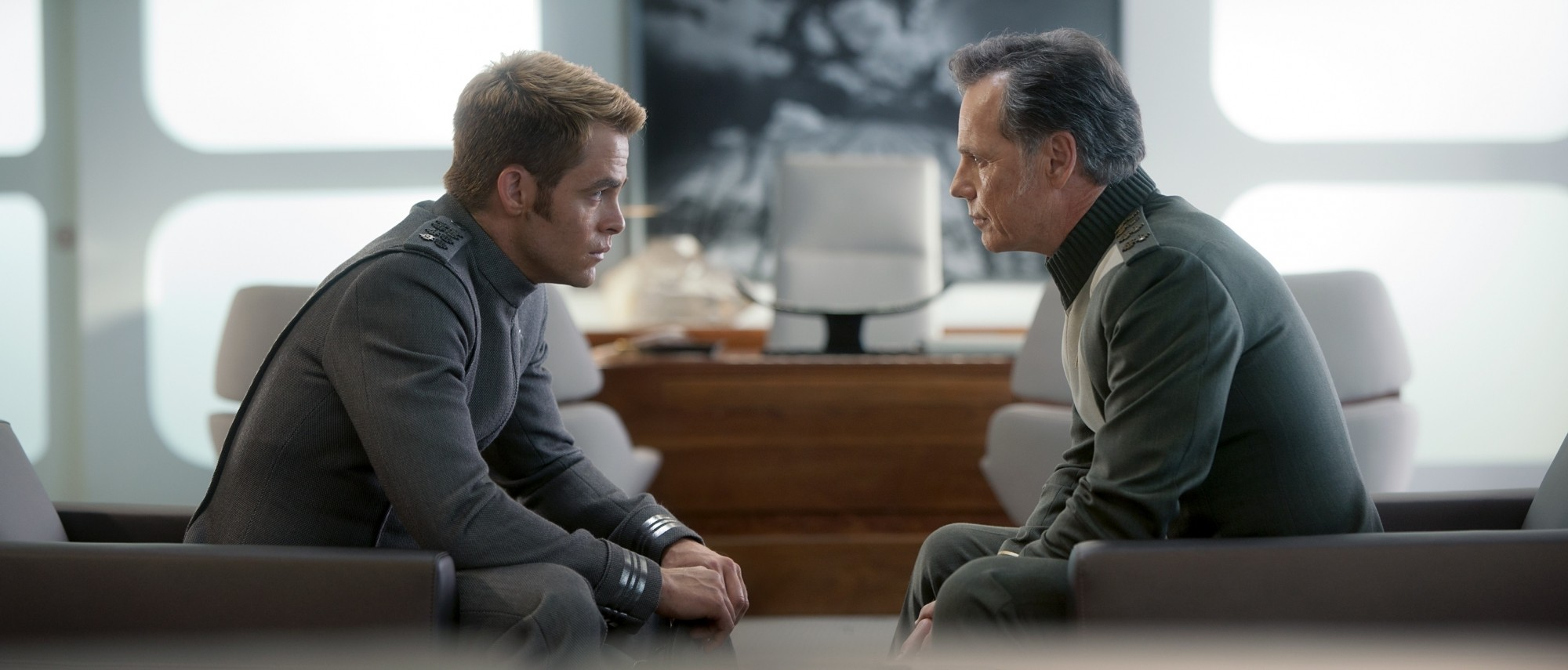 Bruce Greenwood and Chris Pine in Star Trek Into Darkness