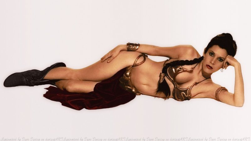 Carrie Fisher as slave Leia posing