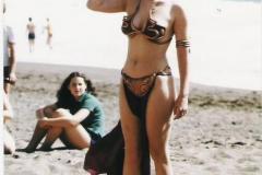 Carrie Fisher as Princess Leia wearing her metal bikini as seen in The Return of the Jedi