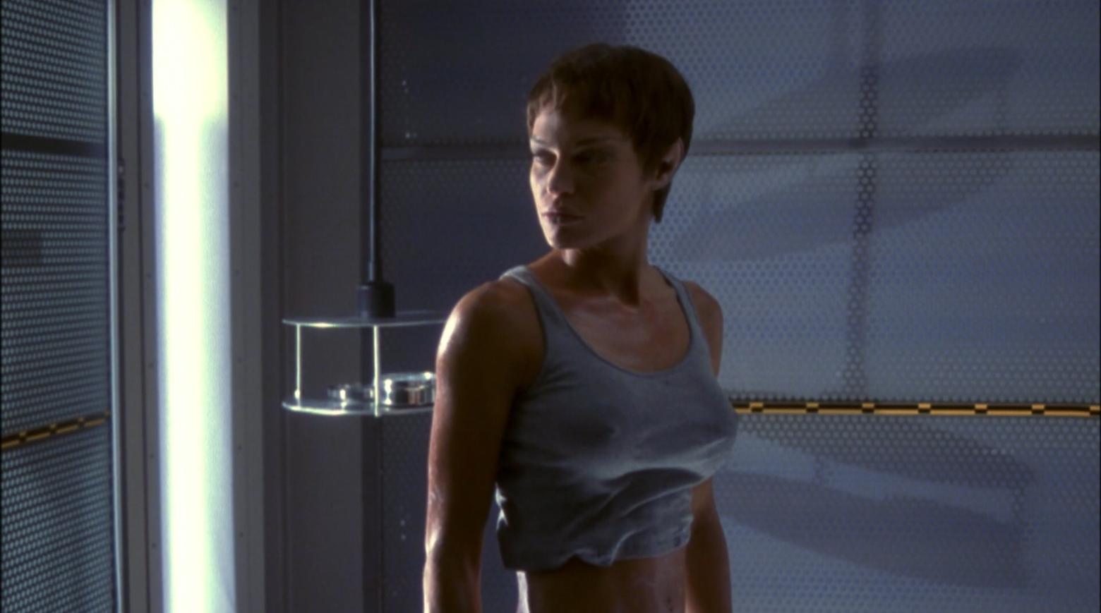 Commander T'pol (Jolene Blalock) ina very tight t-shirt - Enterprise Broken Bow