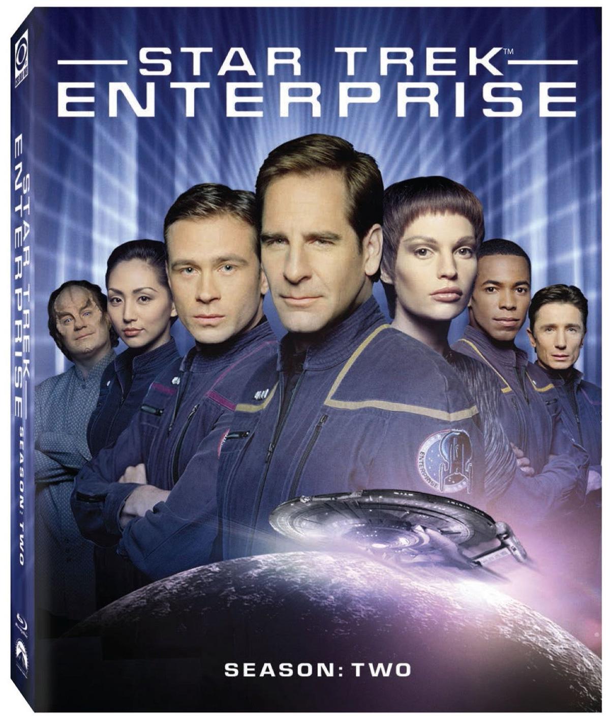 Enterprise season 2 Blu-ray cover - Jolene Blalock as t'pol and Scott Bakula as Jonathan Archer