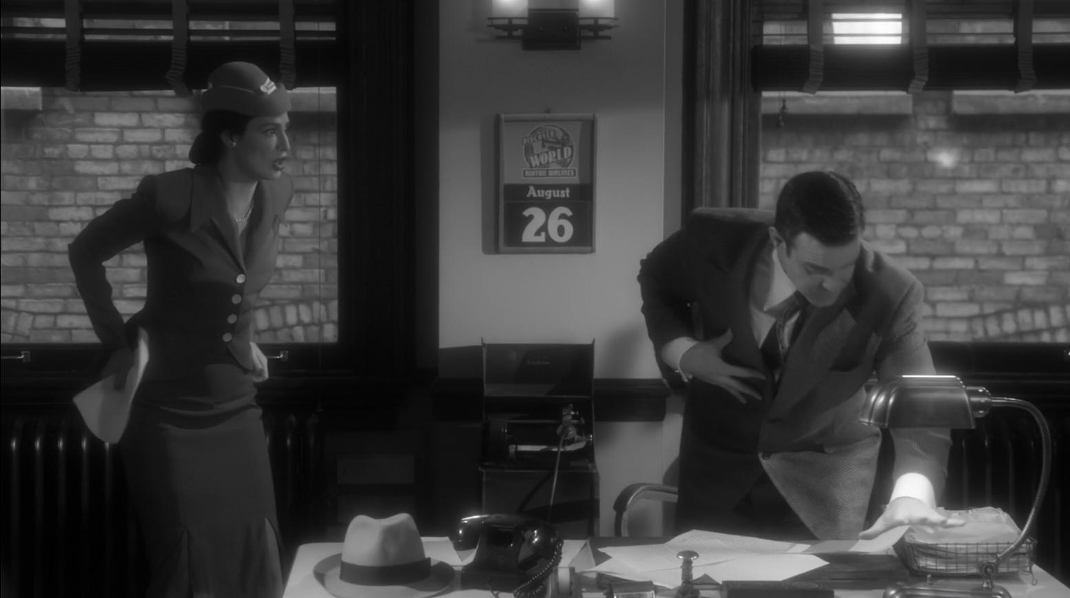 Myka Bering (Joanne Kelly) in tight skirt 1940's