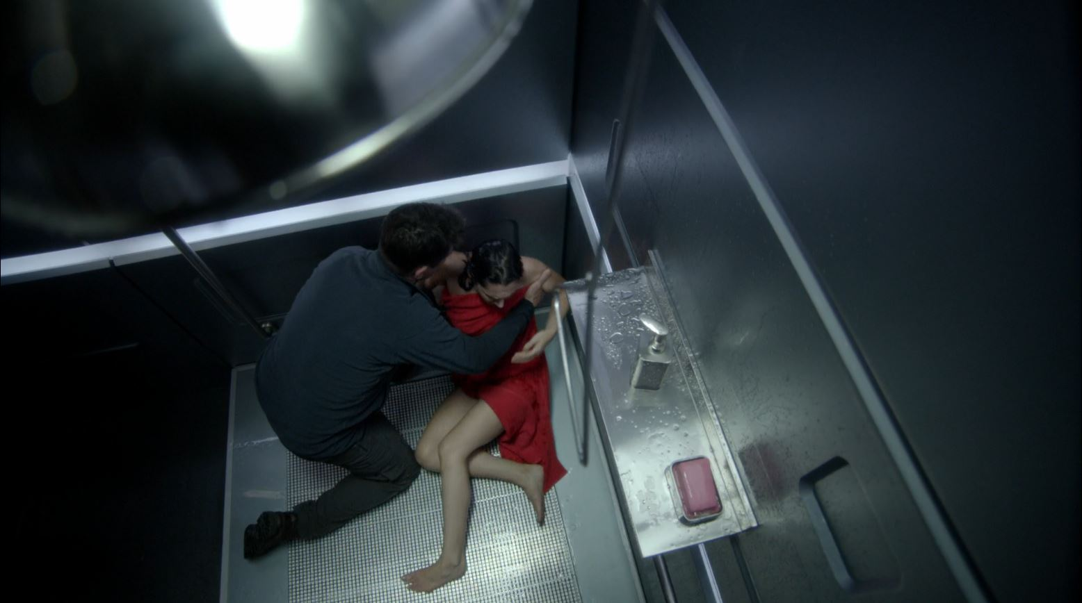 Helix - 274 - Alan (Billy Campbell) finds Julia (Kyra Zagorsky) in the shower room