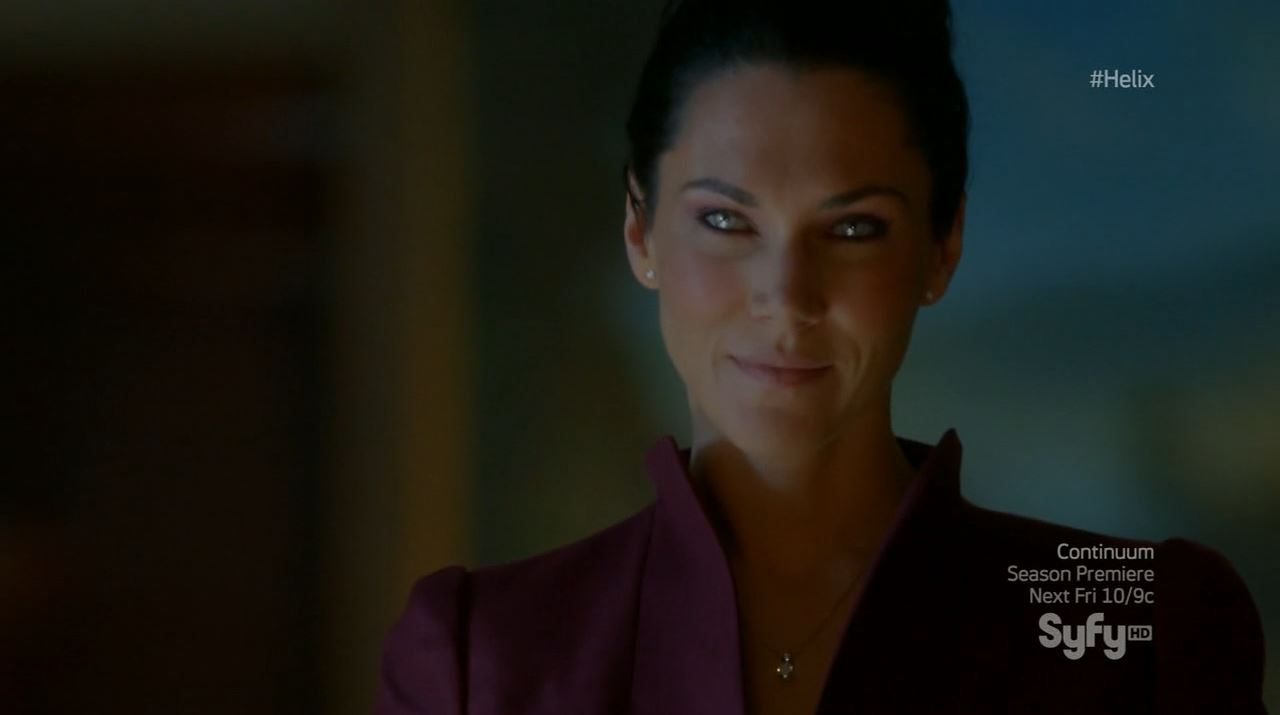 Helix season 1 finale - Kyra Zagorsky as Dr. Julia Walker head of Ilaria corporation
