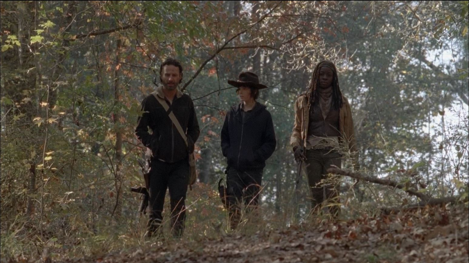 The Walking Dead season 4 finale -Rick, Michonne and Carl in the road The Walking Dead Season 4 Finale 'A' Review