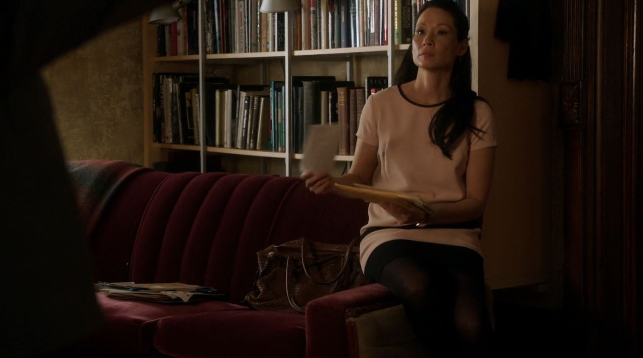 Elementary S2E19 The Many Mouths of Aaron Colville - Lucy Lui in a pink dress