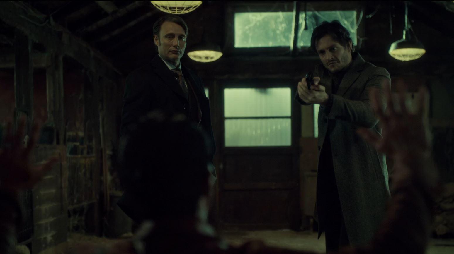 Hannibal Season 2 Episode 8 Su-zakana - Will and Hannibal with a gun