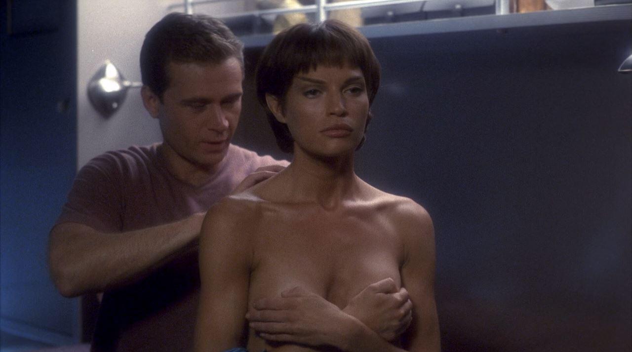 Jolene Blalock holding her boobs - Enterprise T'Pol topless