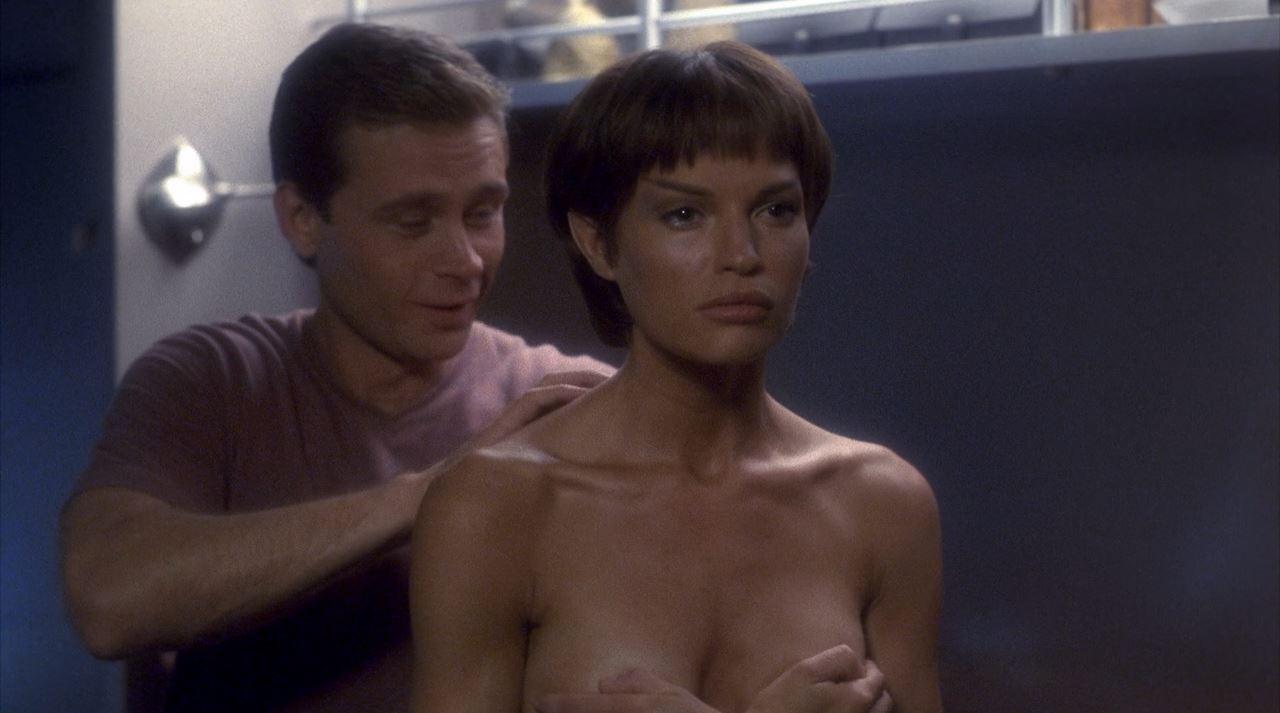 Jolene Blalock topless Enterprise - T'Pol holding her tits