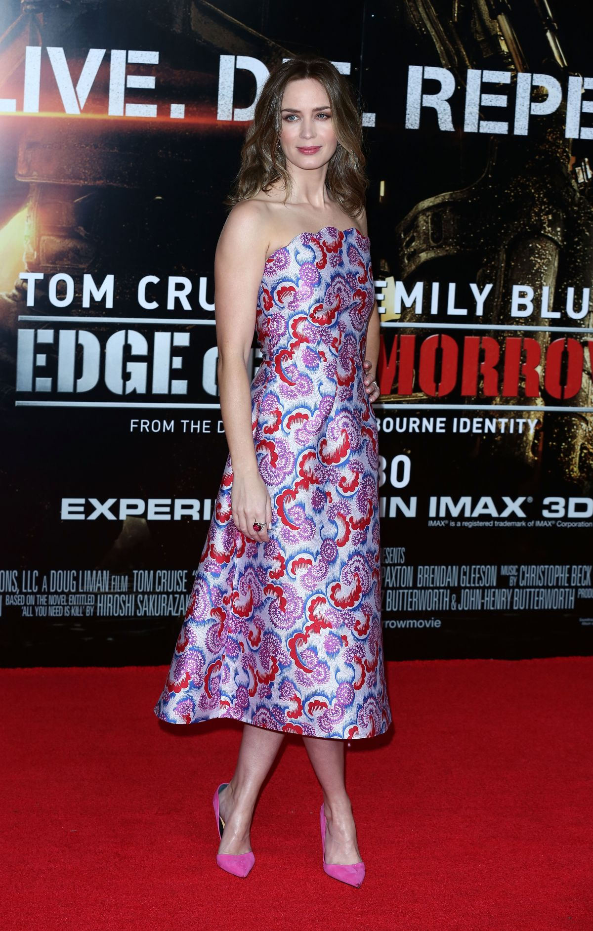 Emily blunt in dress at Edeg Of Tomorrow London Premiere