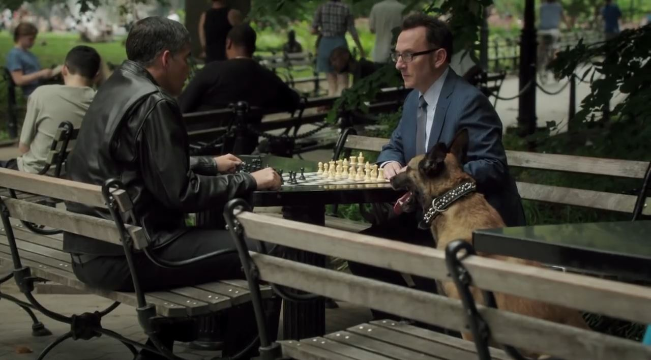 Person of Interest Season 4 Preview - John Reese (Jim Caviezel) and Harold Finch (Michael Emerson) with Bear
