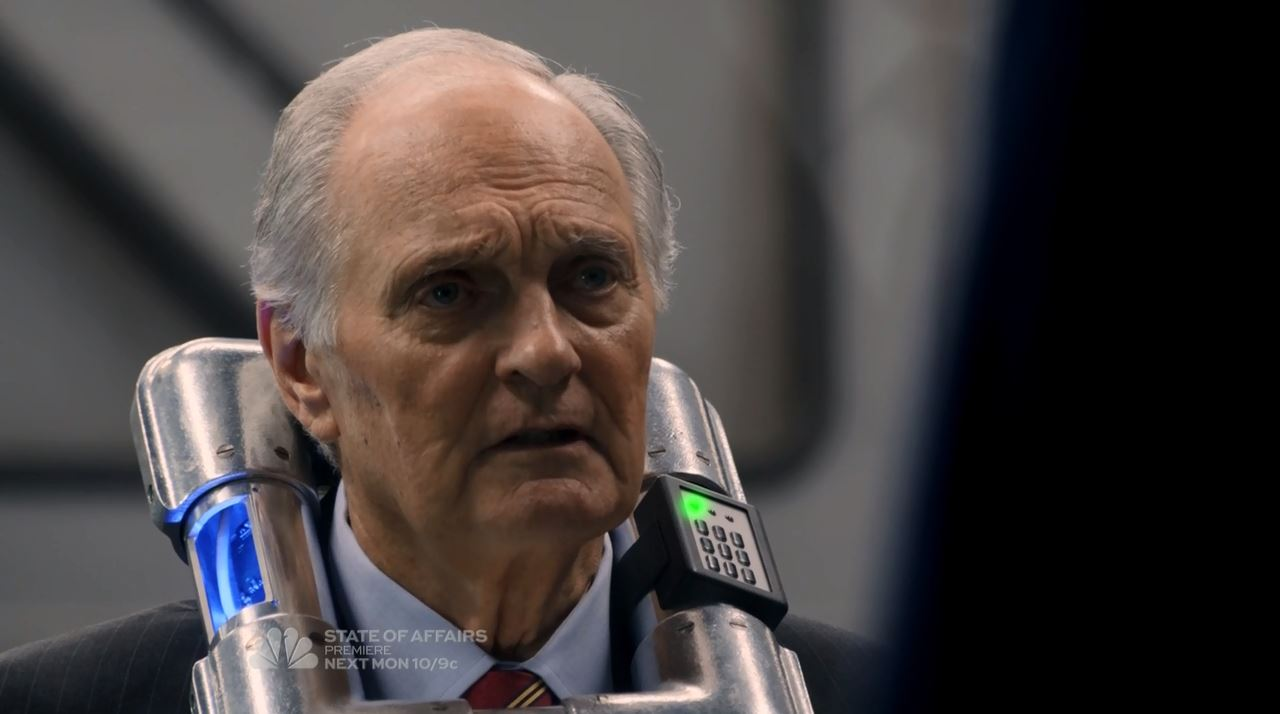 Alan Fitch (Alan Alda) with collar bomb - The Blacklist mid-season finale The Decembrist Review