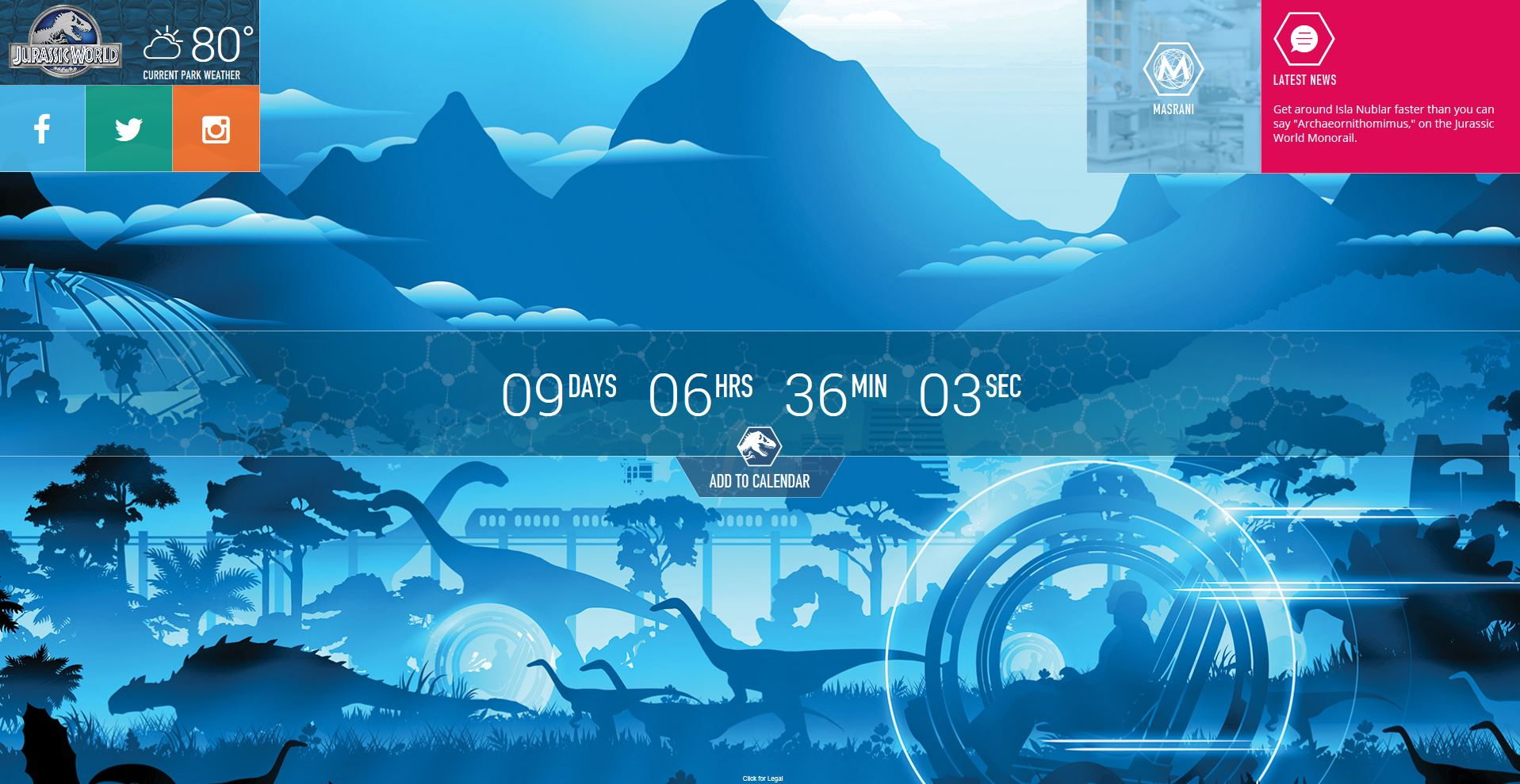 Jurassic World countdown clock Jurassic World opens website with countdown clock and photos