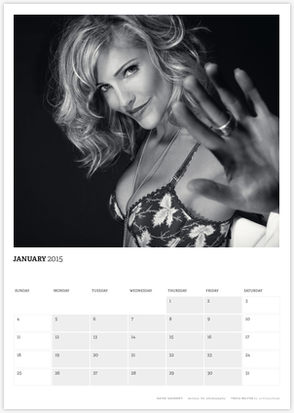 Acting Outlaws 2015 Calendar - Tricia Helfer in a bra January