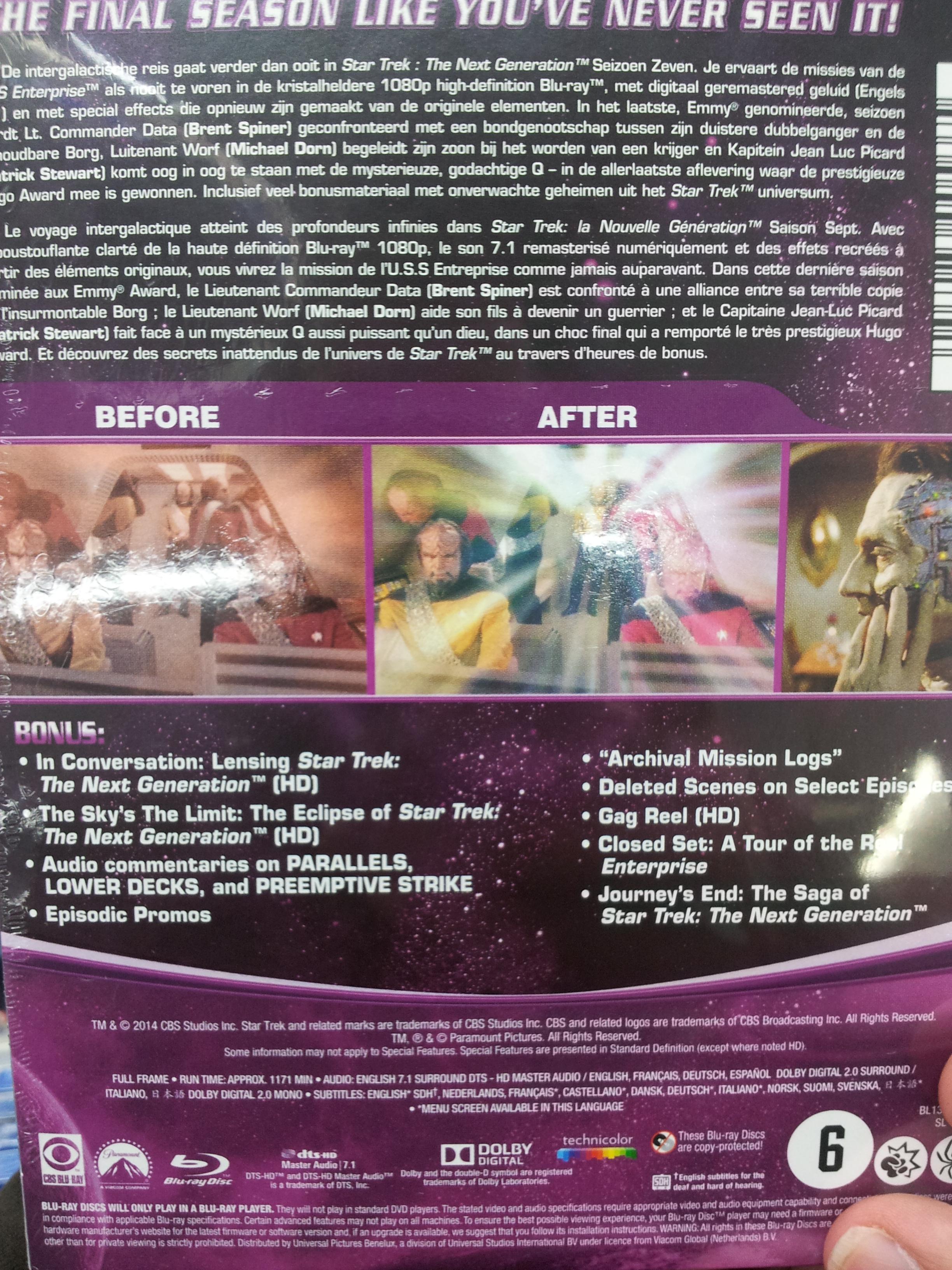 Star Trek TNG Season 7 Blu Ray back of boxset