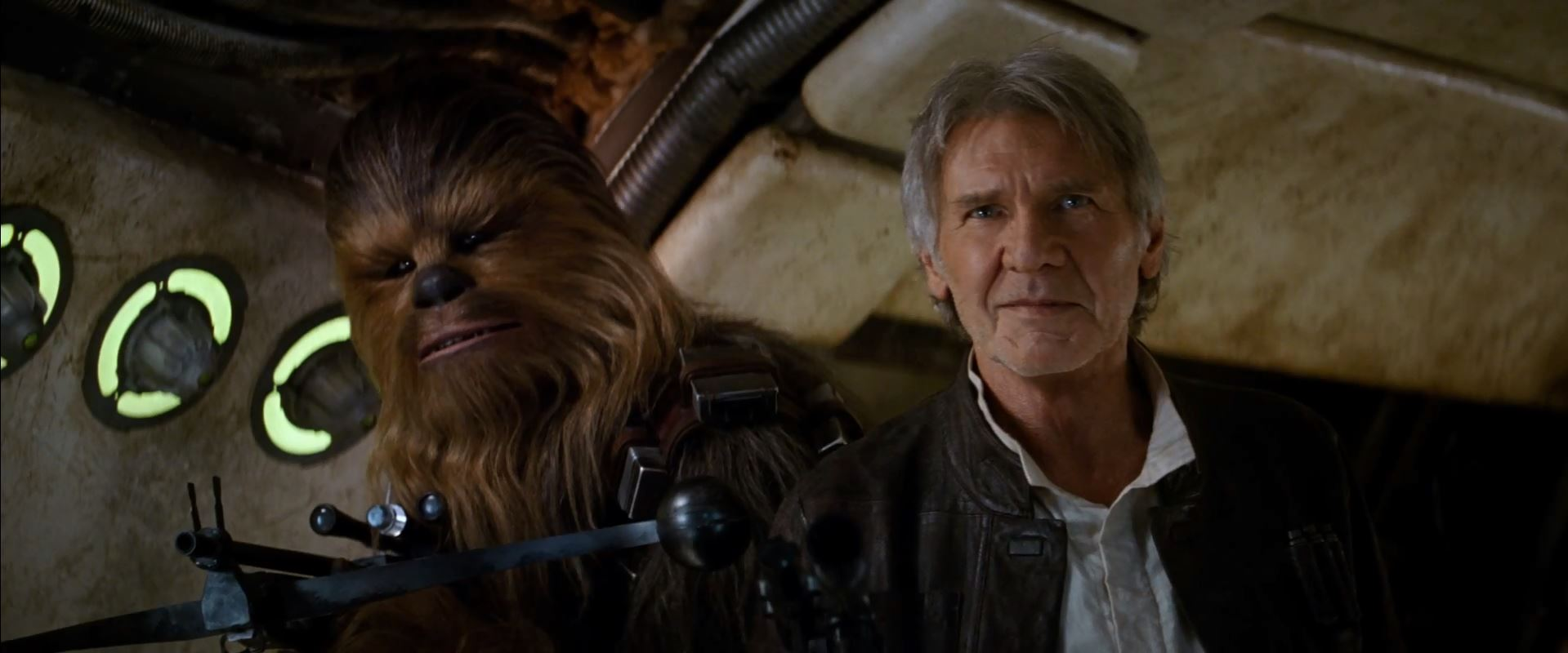 Harrison Ford as Han Solo and Chewbacca. New Star Wars The Force Awakens Trailer Released!