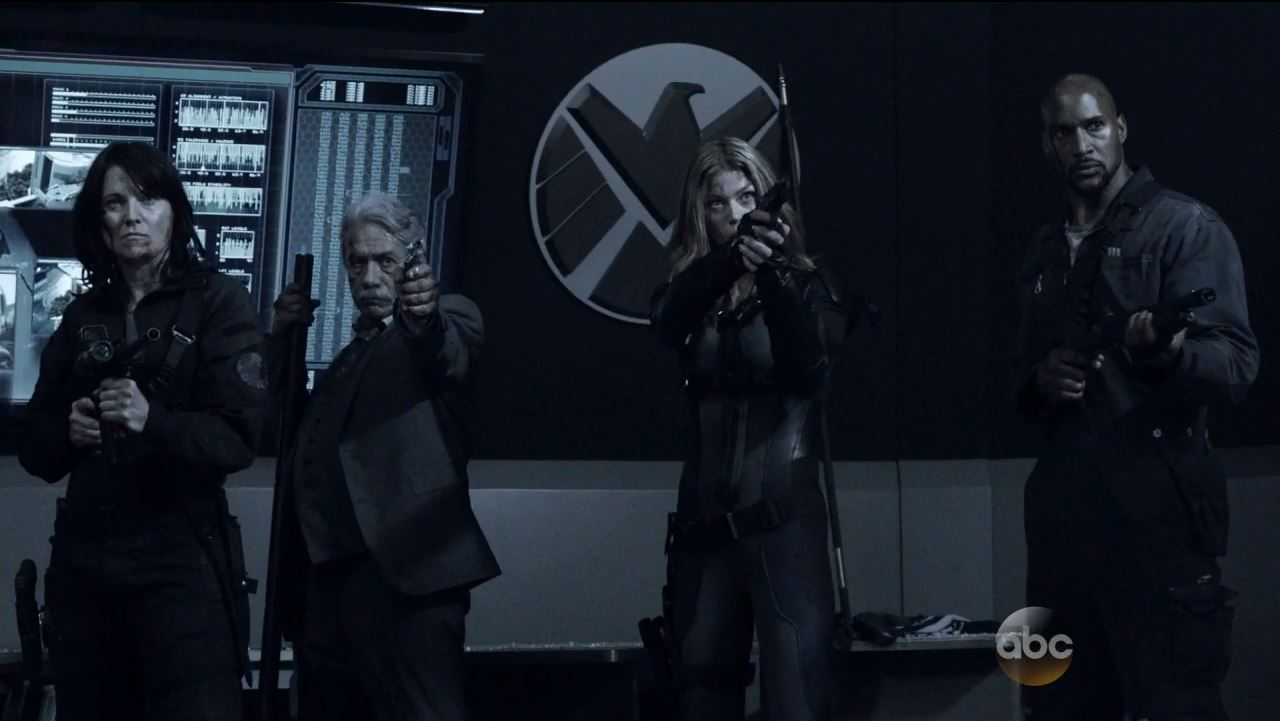 Hartley, Gonzales, Bobbi and Mack await the onslaught. Agents of SHIELD S2Ep15 'One Door Closes' Review