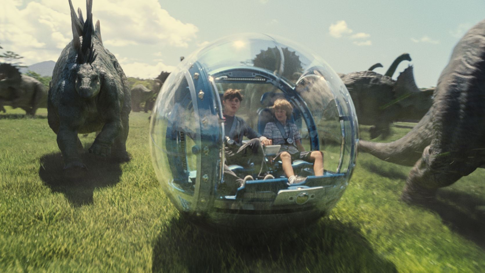Zach and Gray in the gyrosphere - Jurassic World Review